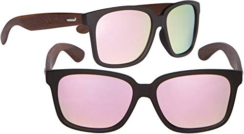 SoFlow Pink Polarized Walnut Wood Sunglasses for Women or Men - Wooden Wayfarer