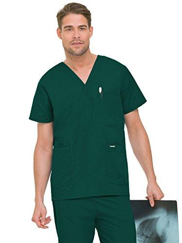 - Landau Essentials Men's 5-Pocket Scrub Top Hunter Green XL