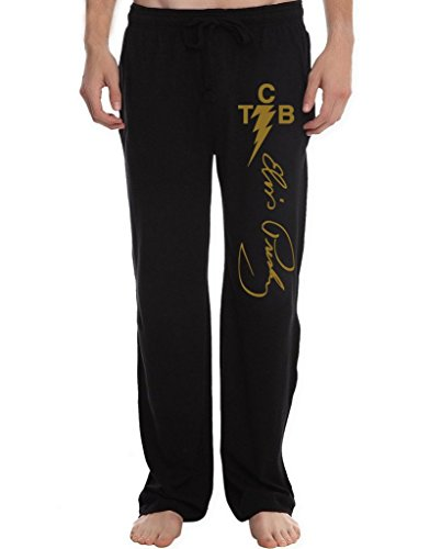 XINGJX Men's Elvis Presley The King Of Rock 'n'roll Tcb Logo Running Workout Sweatpants Pants L Black ()