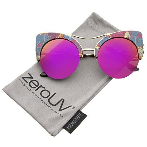zeroUV - Women's Flat Lens Floral Print Semi-Rimless Round Cat Eye Sunglasses 52mm (Blue-Orange-Floral / Magenta - Floral Sunglasses Round