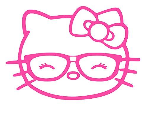 Hello Kitty Head Glasses Vinyl Sticker Decal (Pink, 6
