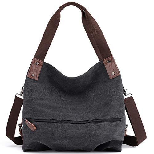 Women's Canvas Shoulder Bags Handbags Crossbody Satchel Work Tote Purse Bag (Black)