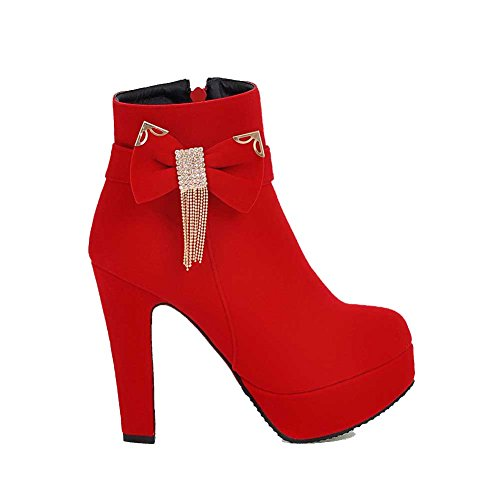 Zipper Boots Red top High Suede Allhqfashion Imitated Low Heels Women's Solid wqFT4FB