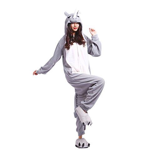 PALMFOX Unisex Onesies Gray Rhino Animal Cosplay Costume Adult Pajamas Lounge Wear Christmas S ()
