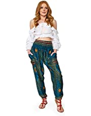 Happy Trunks Harem Pants - S M L XL 2XL - Womens Plus Hippie Bohemian Yoga Elephant Pants