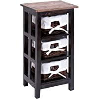 Benzara Contemporary Wooden Rattan End Table with Wide Shelves, 29-Inch