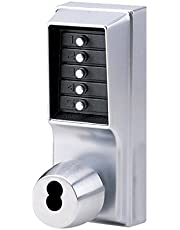 Kaba Simplex 1000 Series Combination Entry Cylindrical Mechanical Pushbutton Lock with Knob, Key Override, Cylindrical 13mm Throw Latch, Floating Face Plate, 70mm Backset, I/C Best and Equivalents (6 or 7-Pin Length), Core Not Included, Satin Chrome Finish