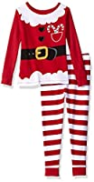 Komar Kids Girls' Little Holiday Print 2 Piece Cotton Tight fit Pajama, Mrs. Claus, 2T