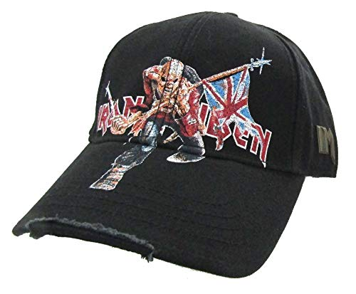 Iron Maiden Trooper Distressed Black Baseball Hat Cap