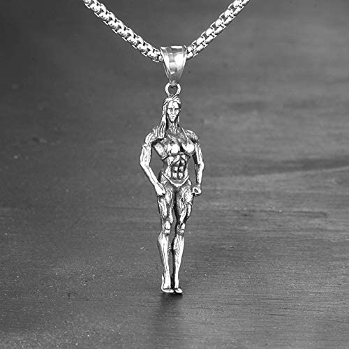 Inveroo Stainless Steel Fitness Bodybuilding Muscle Women Men Necklaces Chain Pendants Creativity for Female Jewelry Accessories 60cm Gifts