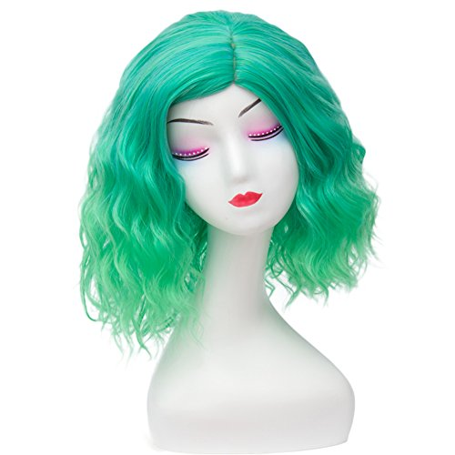 14 Inches (35CM) Green Ombre Short Curly Heat Resistant Lolita Fancy Girl Cosplay Wig + Cap