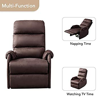 BONZY Power Recliner Chair with Suede Cover Gentle Reclining Track – Lt Brown