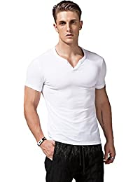 Mens Short Sleeve V Neck Henley Shirts Slim Fit Casual Tee