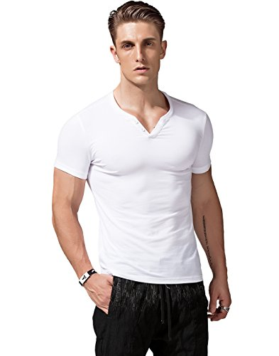 eeve V Neck Henley Shirts Slim Fit Casual Tee,White,Large ()