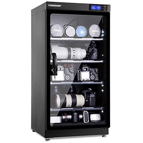 FORSPARK Camera Dehumidifying Dry Cabinet 8W 100L – Noiseless and Energy Saving – for Camera Lens and Electronic Equipment Storage