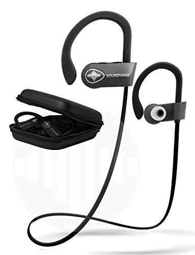 In Ear Wireless Sport Headphones - SoundWhiz Waterproof Workout Earbuds - w Noise Cancelling Mic & Siri. Best Running Headphones 8 Hours Play