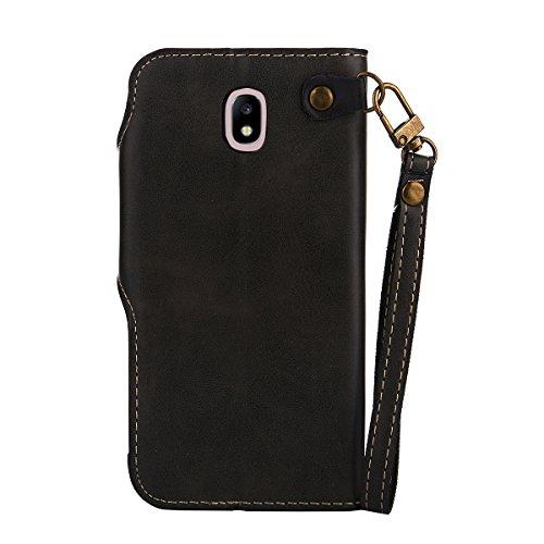 MEIRISHUN Leather Wallet Case Cover Carcasa Funda con Ranura de Tarjeta Cierre Magnético y función de soporte para Samsung Galaxy J5 (2017)[Eurasian version] - Azul Negro