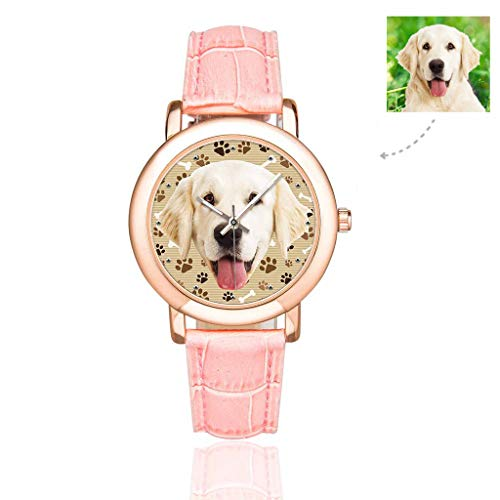 (Personalized Photo Custom Dog Pup Watch with Face Bones Dog Cat Tracks Paws Brown Pattern Wrist Watch for Women/Girlfriend/Wife)
