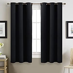 NICETOWN Blackout Curtain Panels for Living Room Pitch Black Solid Thermal Insulated Grommet Blackout Draperies/Drapes for Bedroom Window (Set of 2 Panels, 42 Inch Wide by 63 Inch Long, Black)