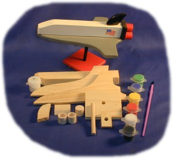 Brandine Wood Kits (Space Shuttle Wood Craft Kit with Paint, Glue and Brush)