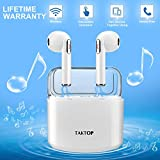 TAKTOP Wireless Earbuds Stereo Bluetooth Headphones with Charging Case Mini in-Ear Earphones Built-in Mic Noise Canceling Sweatproof Sports Wireless Headphone Bluetooth Earbud