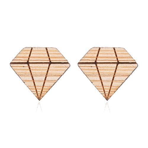 Retro Handmade Globe Map Earrings For Women Men Jewelry Gift Geometric Round Wooden Earrings,Triangle Earrings