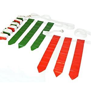 WYZworks 36 Flags & 12 Belts - Flag Football Set - 18 Red Flags & 18 Green Flags