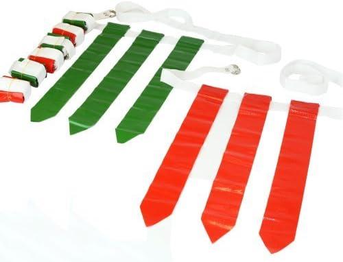WYZworks 旗36枚 & ベルト12本 - フラッグフットボールセット - レッドフラッグ18枚 & グリーンフラッグ 18枚