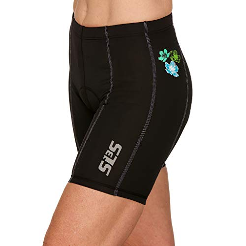 SLS3 Womens Triathlon FRT Tri Bike Shorts | 6 inch Black Women Short | Super Comfy with Soft Chamois | German Designed (Martinica Hibiscus Blooms, M)