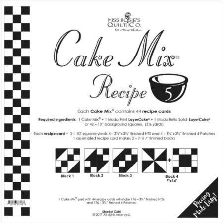 Moda Quilt Patterns - Moda Cake Mix Recipe #5 ~44 recipe cards will make 176, 3 1/2