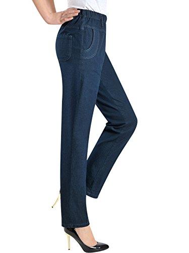elástica 2 Oscuro Verano Style Cintura Azul Bigassets Mujeres Jeans Rectos Vaqueros qgHWt8
