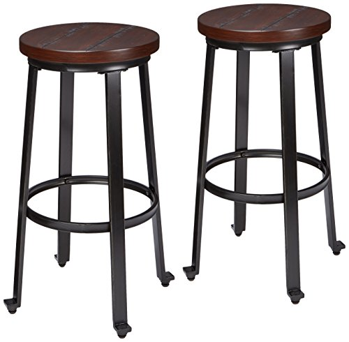 Ashley Furniture Signature Design - Challiman Bar Stool - Pub Height - Set of 2 - Rustic - Set Stool Bench