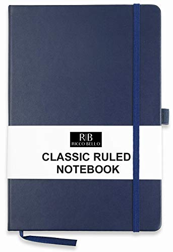 RICCO BELLO A5 Classic College Ruled Banded Notebook, Pen Loop, 192 pages, 5.7 x 8.4 in. (Navy)
