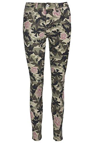 Be Jealous Womens Camouflage Army Rose Printed Jeans Trouser Skinny Slim Ladies Denim Pants UK Size 34-42 Army Khaki Rose