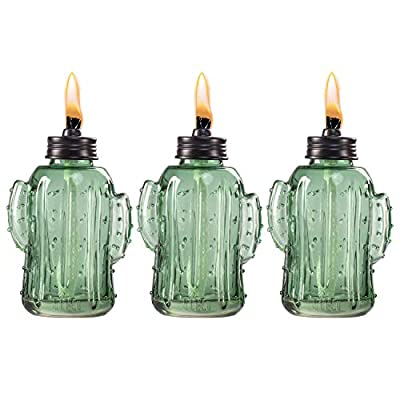 "TIKI Brand 6.25"" Glass Tabletop Torch Cactus (Set of 3)"