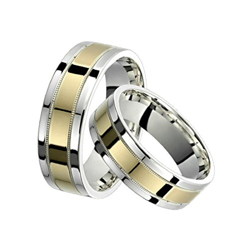 Alain Raphael 2 Tone Sterling Silver and 10k Yellow Gold 7 Millimeters Wide Wedding Band Ring Set Him and Her by Alain Raphael