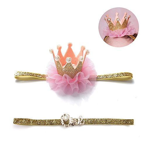 [Baby Girl Birthday Glitter Bow Crown Headband Princess Sparkly Tiara Hair Accessories (Gold II)] (Princess Birthday Girl Tiara)