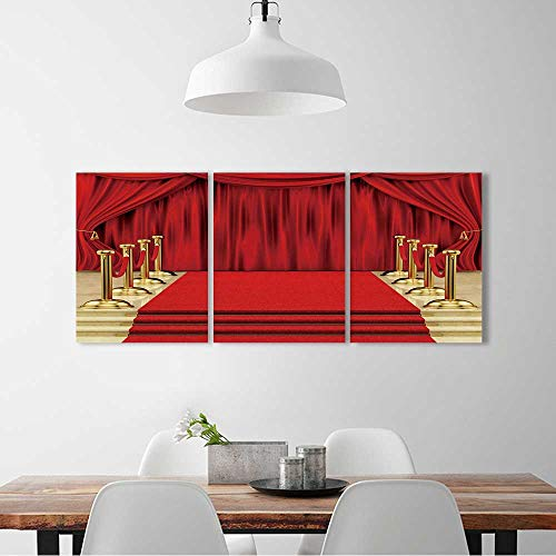 Wall Art for Living Room Decor 3 Piece Set Frameless render of a red carpet with gold stanchions and curtains For Home Modern Decoration Print Decor W12