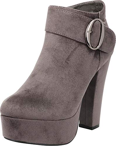 Cambridge Select Women's Wraparound Buckle Chunky Platform High Heel Ankle Bootie,7.5 B(M) US,Grey IMSU
