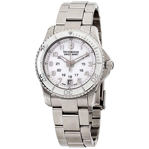 (Victorinox Swiss Army White Dial Stainless Steel Quartz Ladies Watch 249051)