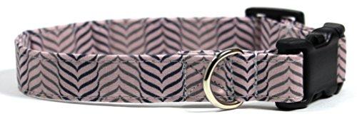 (Lavender Zebra, Purple Herringbone Stripe Dog Collar, Designer Cotton Dog Collar, Adjustable Handmade Fabric Collars (S - 3/4