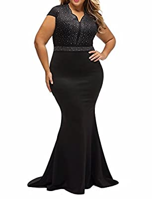 8830 - Plus Size Mermaid Rhinestone Front Bodice Scalloped Neckline Maxi Dress