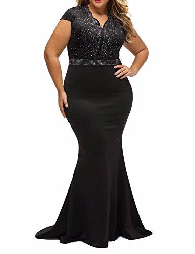 8830 - Plus Size Mermaid Rhinestone Front Bodice Scalloped Neckline Maxi Dress (1X, Black)