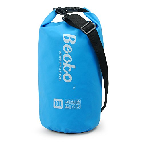Becko 10L Blue Dry Bag, Waterproof Case Pouch Include Shoulder Strap for Swimming, Surfing, Fishing, Boating, Skiing, Camping and Other Outdoor Sports, Protest Your Personal Item Against Water, Rain, Snow and Sweat (Blue, 10L)