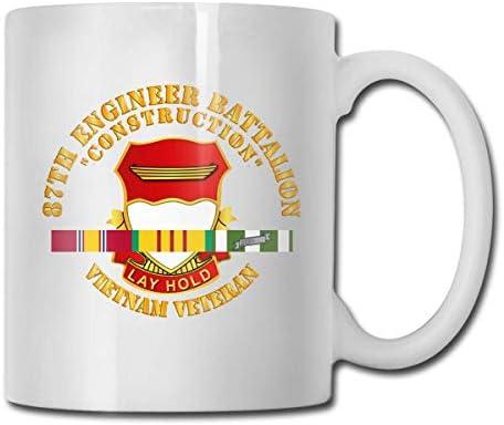 N\A 87. Ingenieur Bataillon BAU Vietnam Tierarzt Lustige Geschenkbecher Weißer Tee Brühbecher 11 Unzen