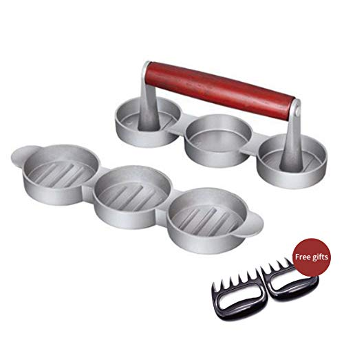 AVA Burger Press Professional Aluminum Patty Maker Quality BBQ Grilling Accessories with 50 Wax Paper Discs and Meat Remover (Double, Triple,Five)]()