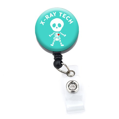 X-ray Badge (Sizzle City Retractable Badge Reels, Badge Holders, Name Tags (Alligator/Swivel Clip, Xray Tech Skeleton_Turquoise 1.25))