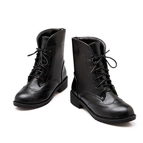 AllhqFashion Mujeres Sólido Tacón Grueso Cordones Puntera Cerrada Botas Negro