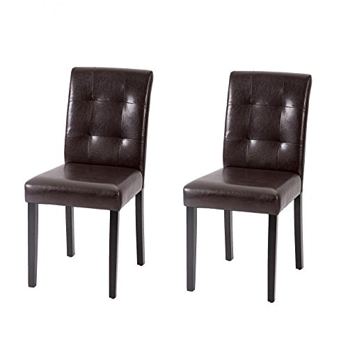 Set of 2 Dining Chairs Leather Contemporary Elegant Design Home Room (Brown)