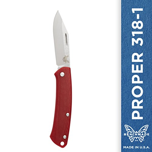 Benchmade Proper 318 Knife, Clip-point, Red Contoured G10 Handle